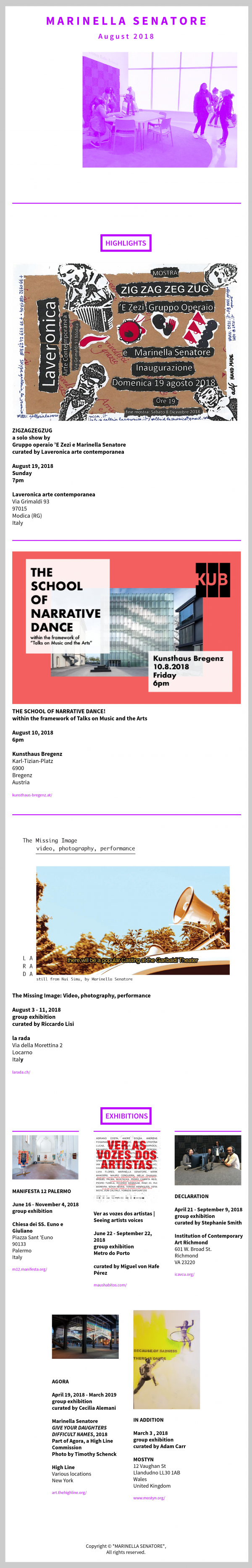 Studio Marinella Senatore Newsletter | August 2018