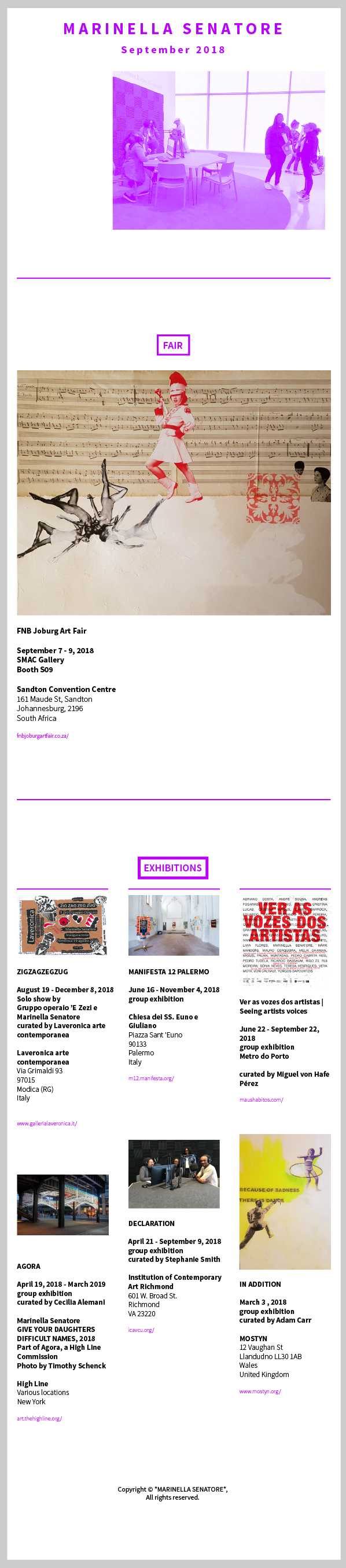 Studio Marinella Senatore Newsletter | September 2018